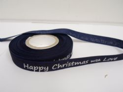 Navy & White 2 or 20 metres 15mm Happy Christmas with Love Woven Ribbon Xmas Roll Craft